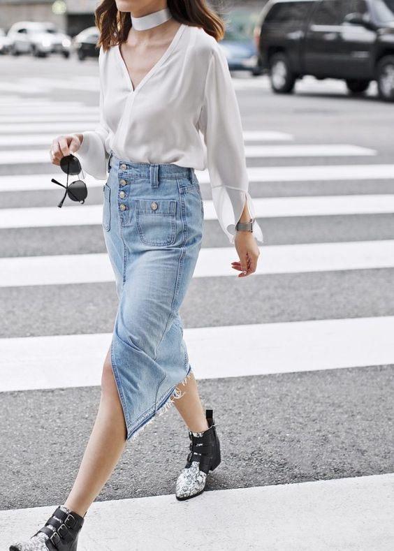 phối đồ với váy jean ôm