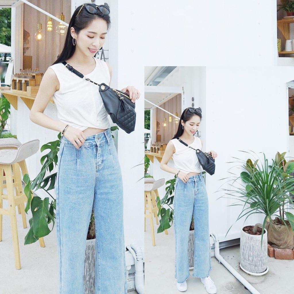 phối đồ với quần jean ống rộng