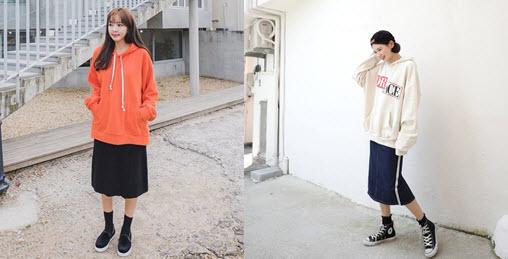 chân váy dài kết hợp với áo hoodie