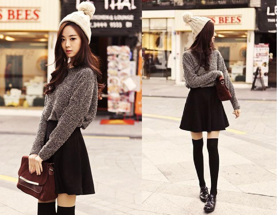 chân váy với áo len